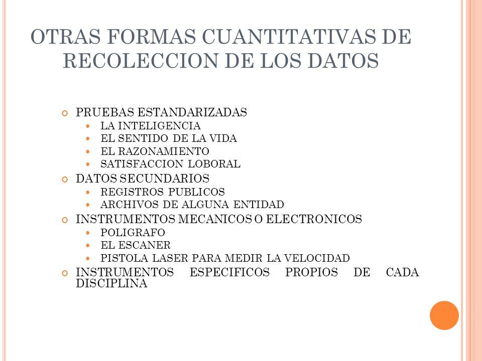 OTRAS FORMAS CUANTITATIVAS DE RECOLECCION DE LOS DATOS