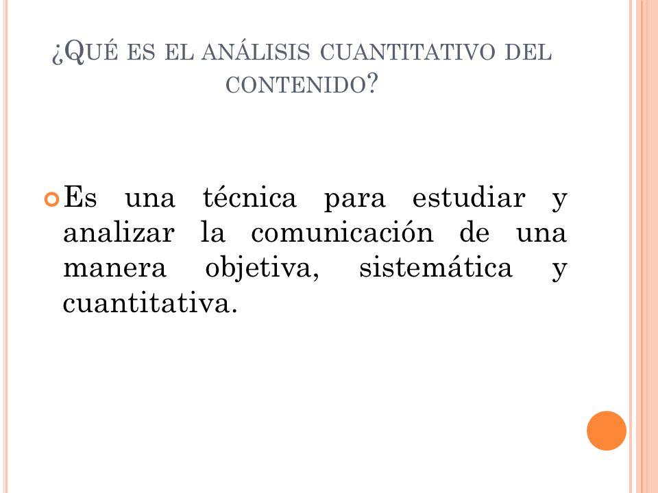 ¿Qué es el análisis cuantitativo del contenido