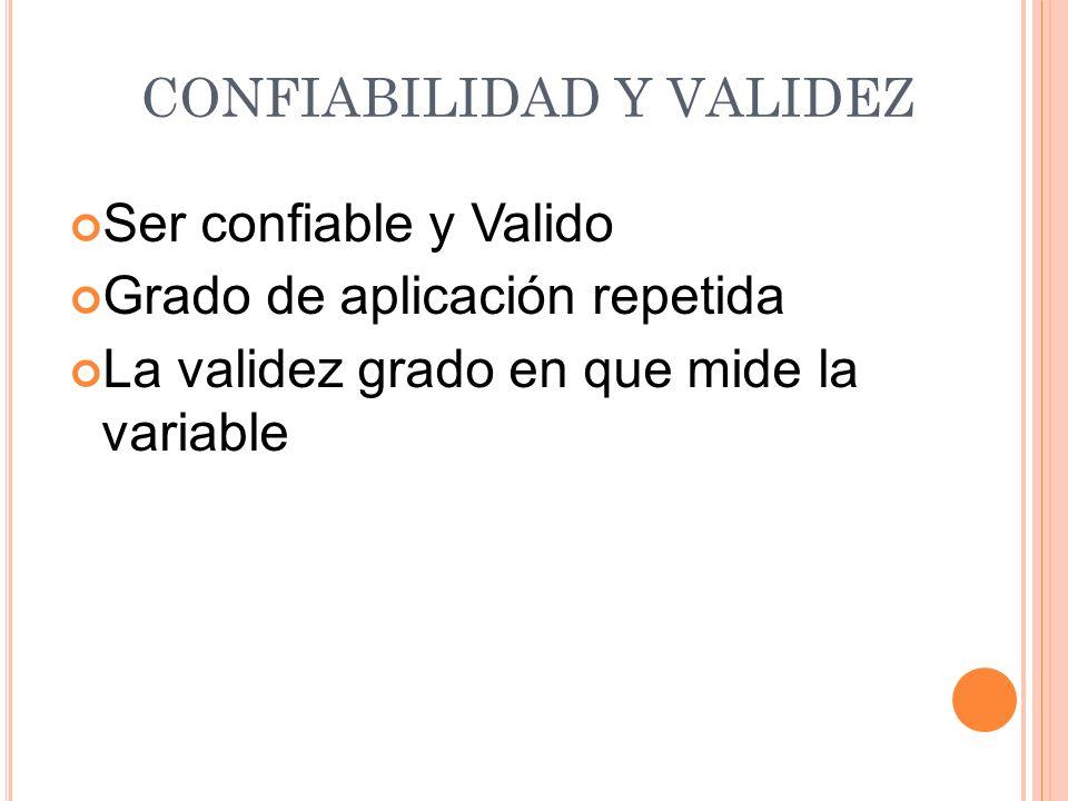 CONFIABILIDAD Y VALIDEZ