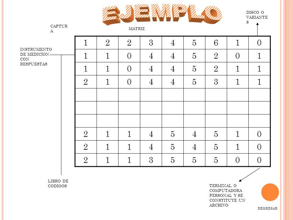 EJEMPLO 1 2 3 4 5 6 DISCO O VARIANTES CAPTURA MATRIZ
