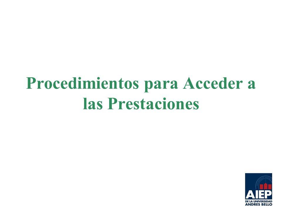 Procedimientos para Acceder a las Prestaciones