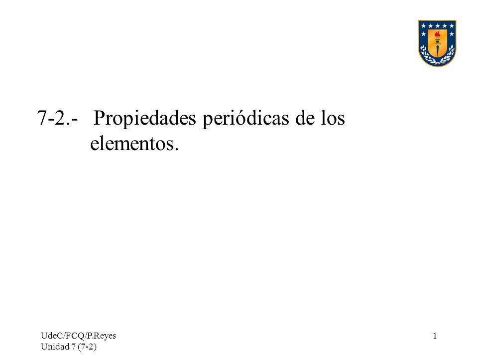 7-2.- Propiedades periódicas de los elementos.
