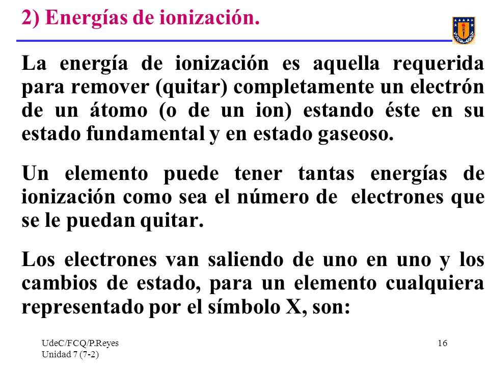 2) Energías de ionización.