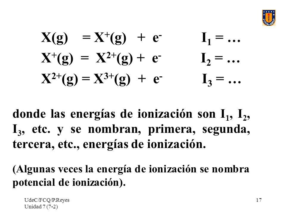 X(g) = X+(g) + e- I1 = … X+(g) = X2+(g) + e- I2 = …