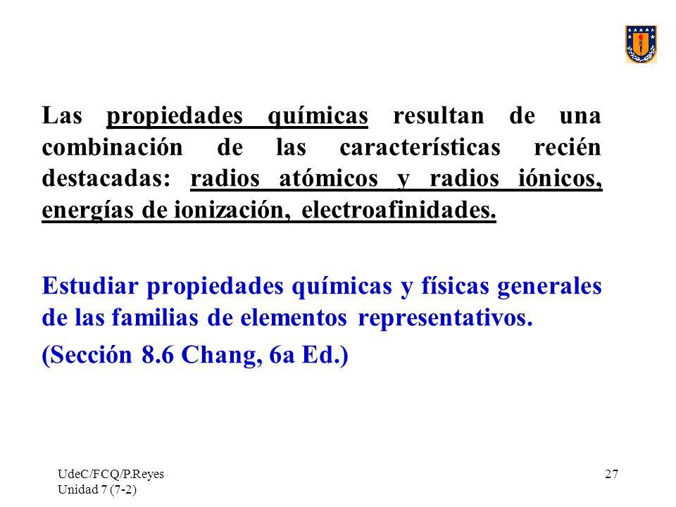 Las propiedades químicas resultan de una combinación de las características recién destacadas: radios atómicos y radios iónicos, energías de ionización, electroafinidades.