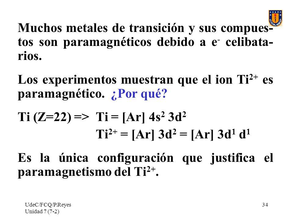 Los experimentos muestran que el ion Ti2+ es paramagnético. ¿Por qué
