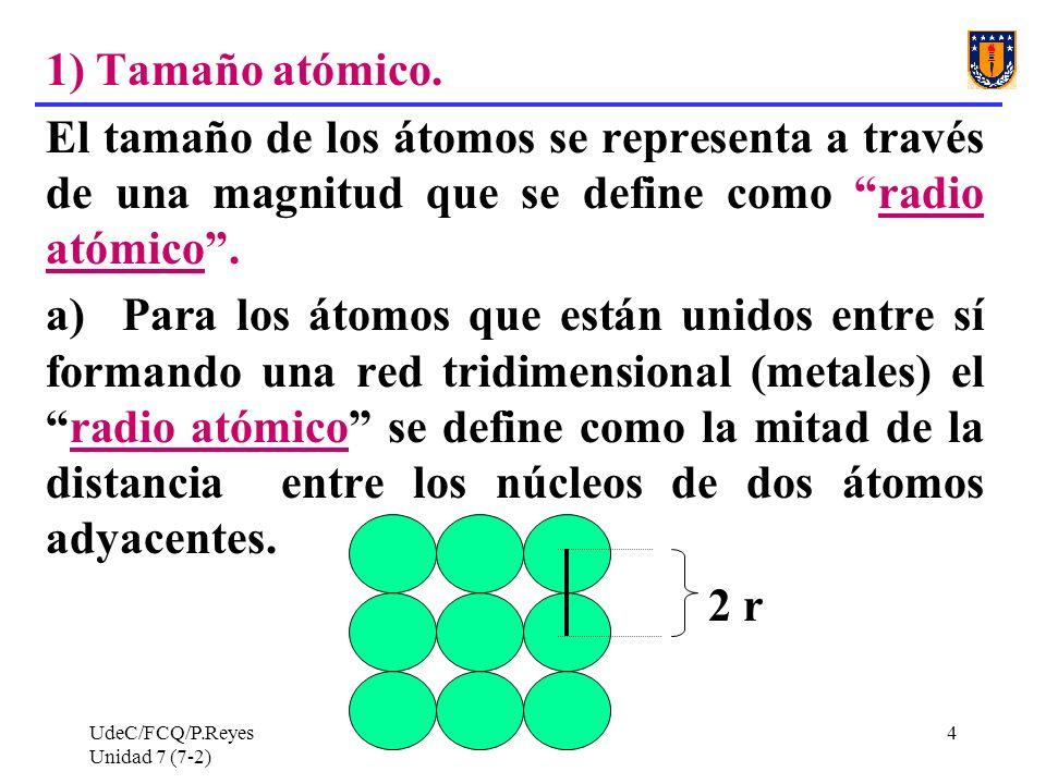 1) Tamaño atómico. El tamaño de los átomos se representa a través de una magnitud que se define como radio atómico .