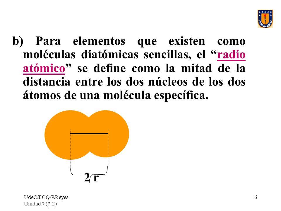 b) Para elementos que existen como moléculas diatómicas sencillas, el radio atómico se define como la mitad de la distancia entre los dos núcleos de los dos átomos de una molécula específica.