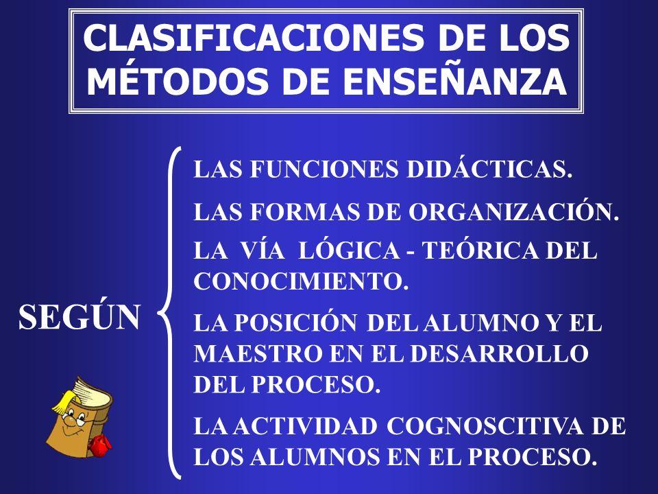 CLASIFICACIONES DE LOS MÉTODOS DE ENSEÑANZA
