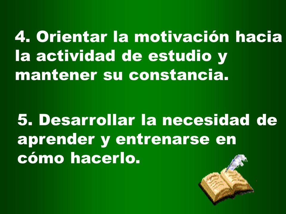 4. Orientar la motivación hacia la actividad de estudio y mantener su constancia.