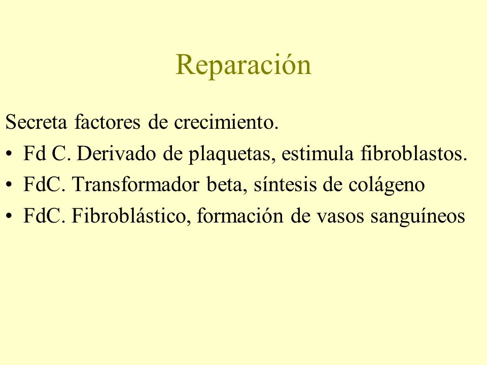 Reparación Secreta factores de crecimiento.