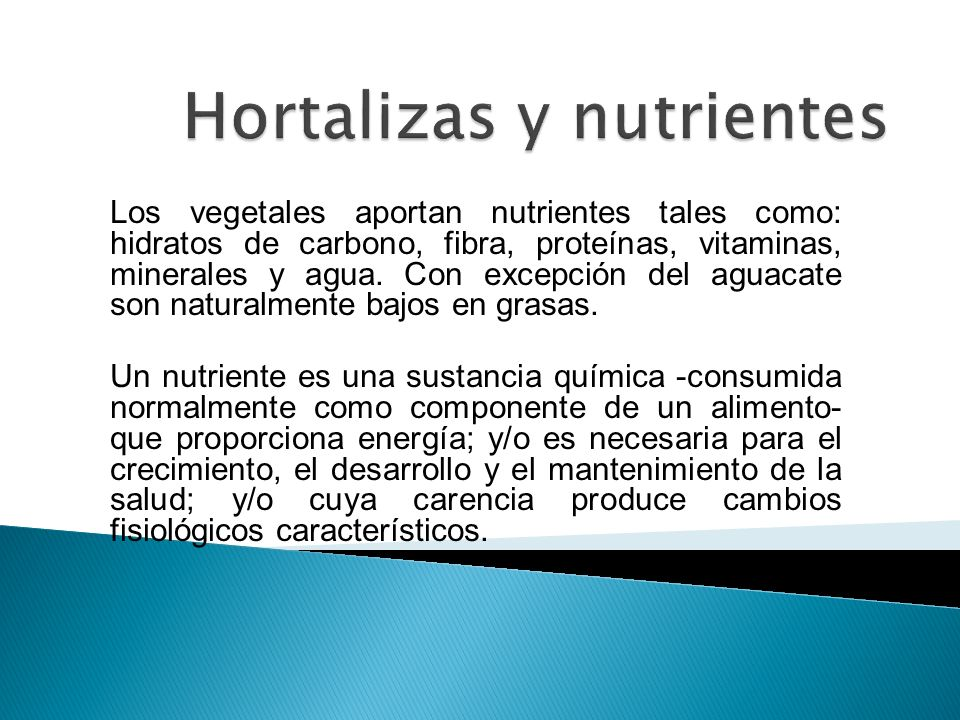 Hortalizas y nutrientes