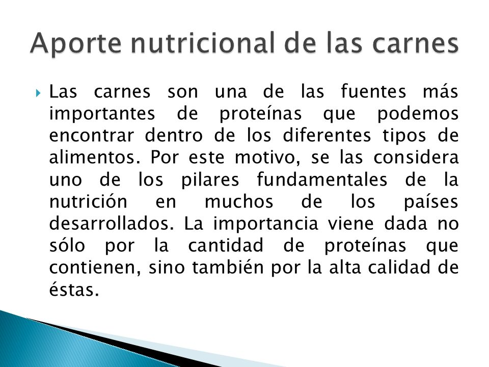 Aporte nutricional de las carnes