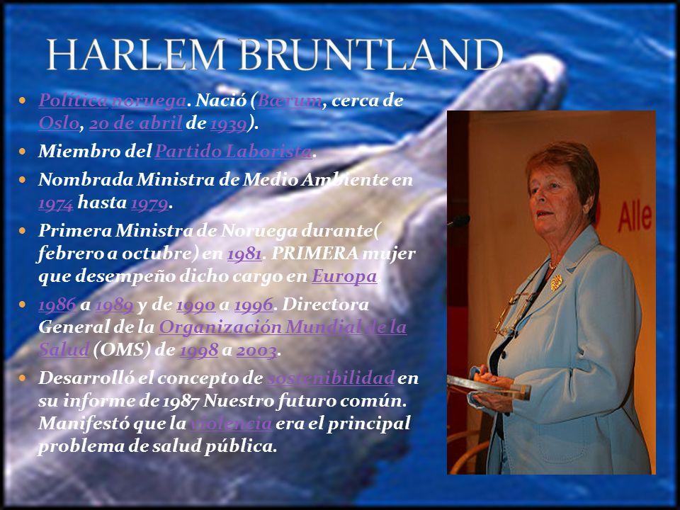 HARLEM BRUNTLAND Política noruega. Nació (Bærum, cerca de Oslo, 20 de abril de 1939). Miembro del Partido Laborista.