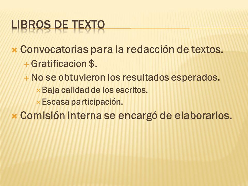 Libros de texto Convocatorias para la redacción de textos.