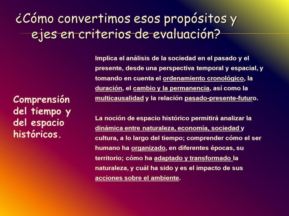 ¿Cómo convertimos esos propósitos y ejes en criterios de evaluación