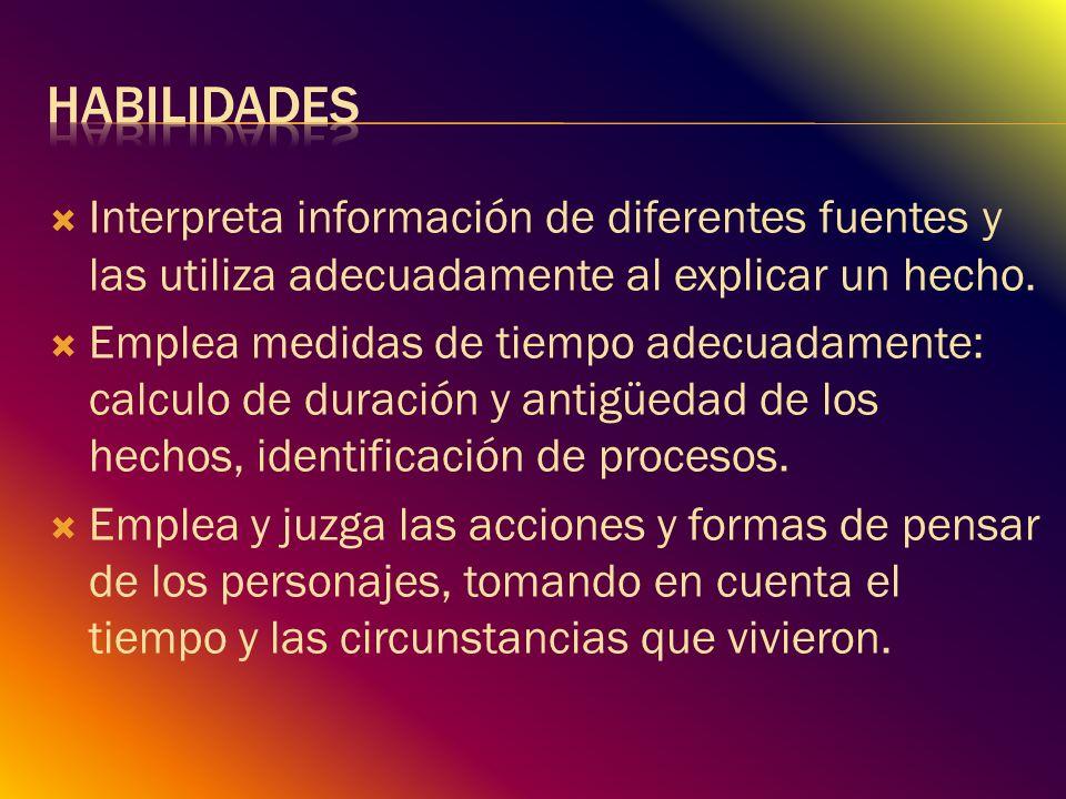 Habilidades Interpreta información de diferentes fuentes y las utiliza adecuadamente al explicar un hecho.