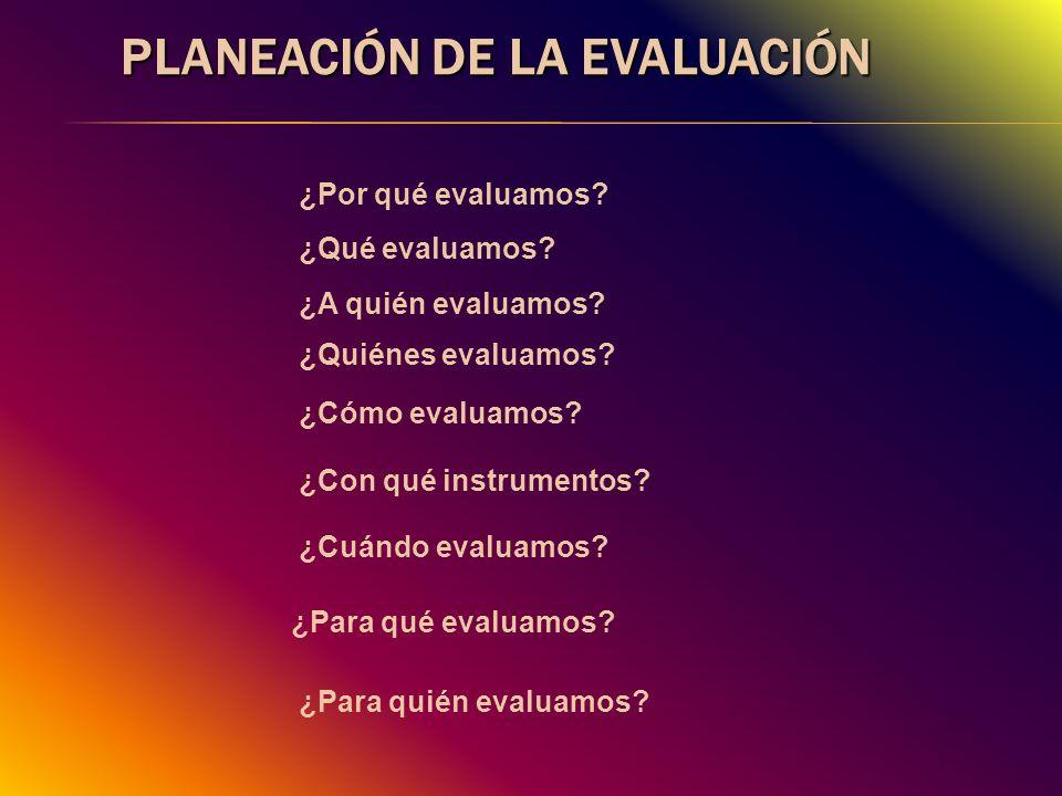 Planeación de la evaluación