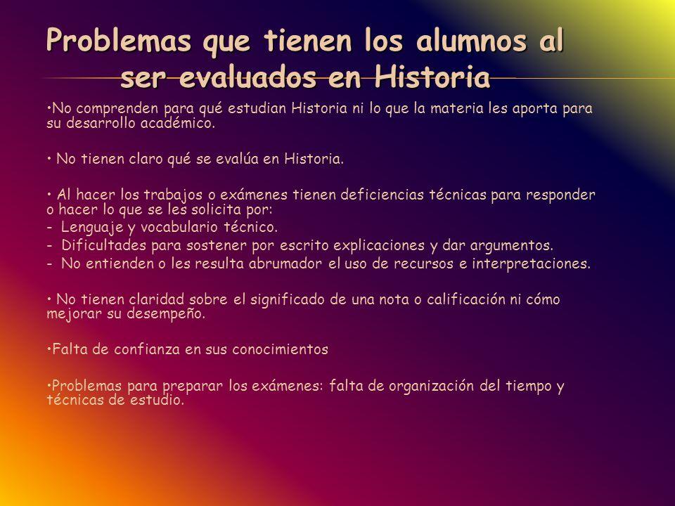 Problemas que tienen los alumnos al ser evaluados en Historia