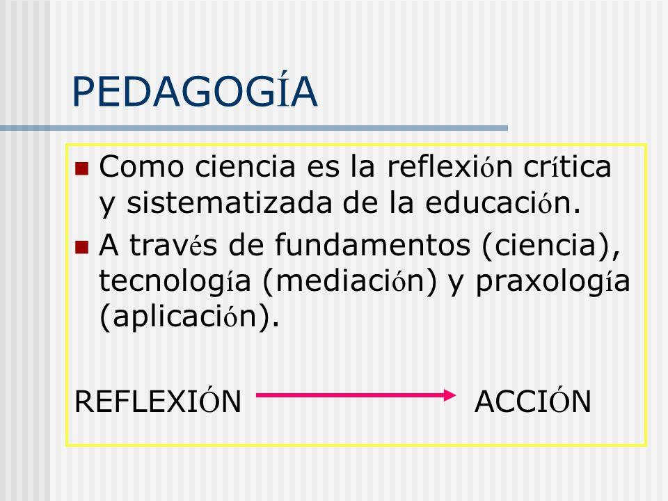 PEDAGOGÍA Como ciencia es la reflexión crítica y sistematizada de la educación.