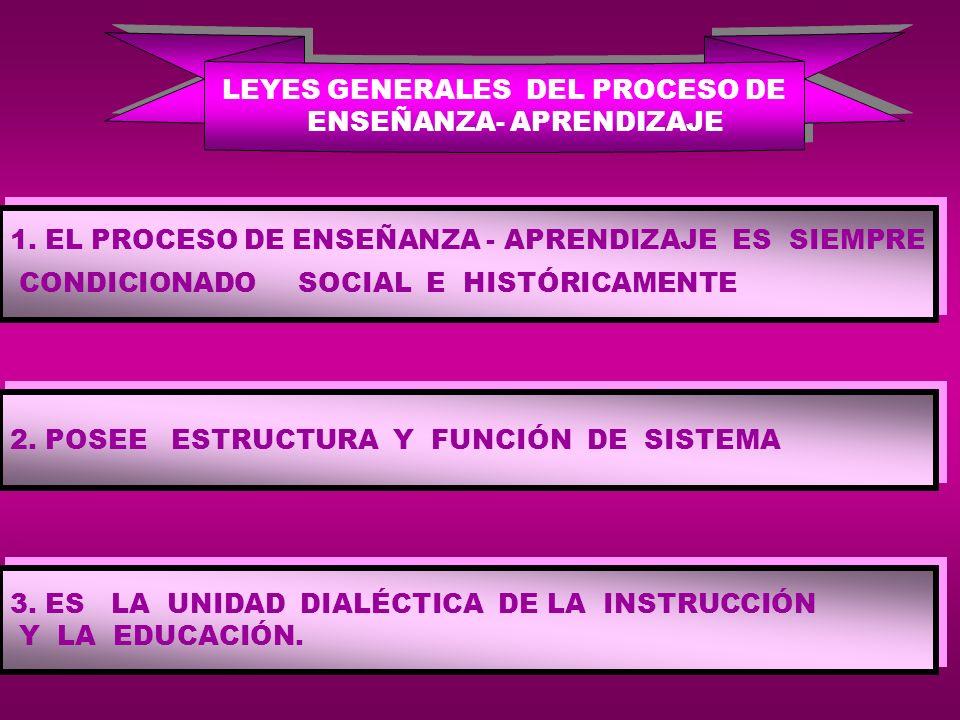 LEYES GENERALES DEL PROCESO DE ENSEÑANZA- APRENDIZAJE