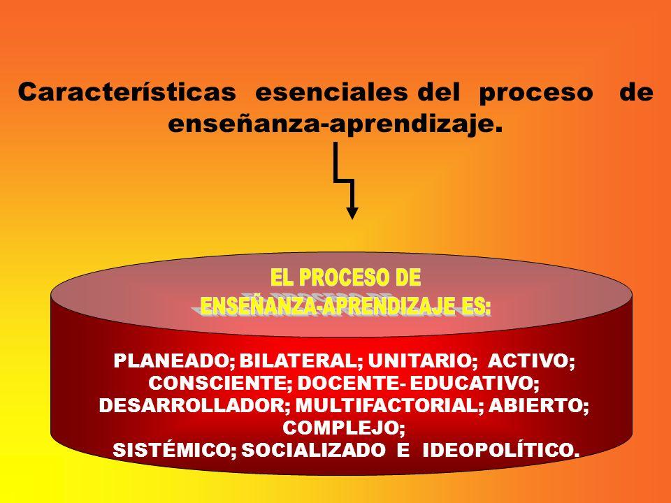 Características esenciales del proceso de enseñanza-aprendizaje.