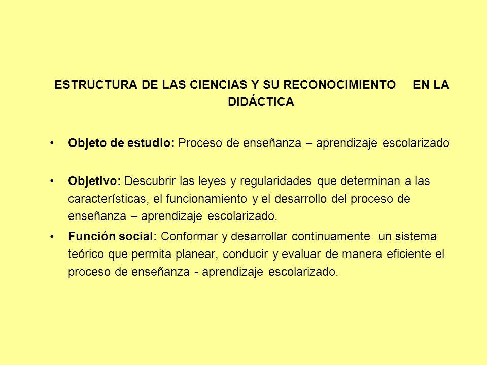 ESTRUCTURA DE LAS CIENCIAS Y SU RECONOCIMIENTO EN LA DIDÁCTICA