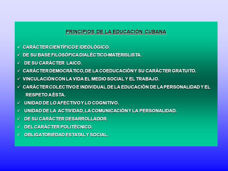PRINCIPIOS DE LA EDUCACIÓN CUBANA