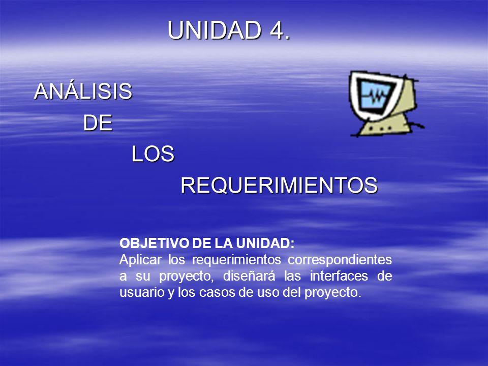 UNIDAD 4. ANÁLISIS DE LOS REQUERIMIENTOS OBJETIVO DE LA UNIDAD: