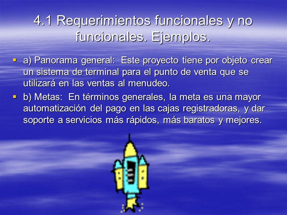 4.1 Requerimientos funcionales y no funcionales. Ejemplos.