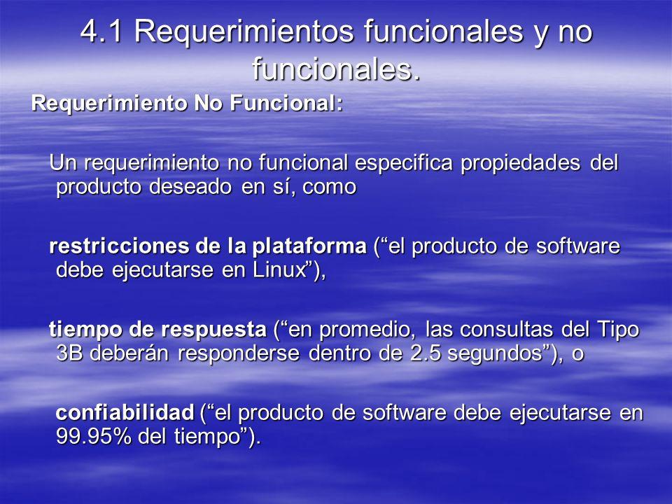 4.1 Requerimientos funcionales y no funcionales.