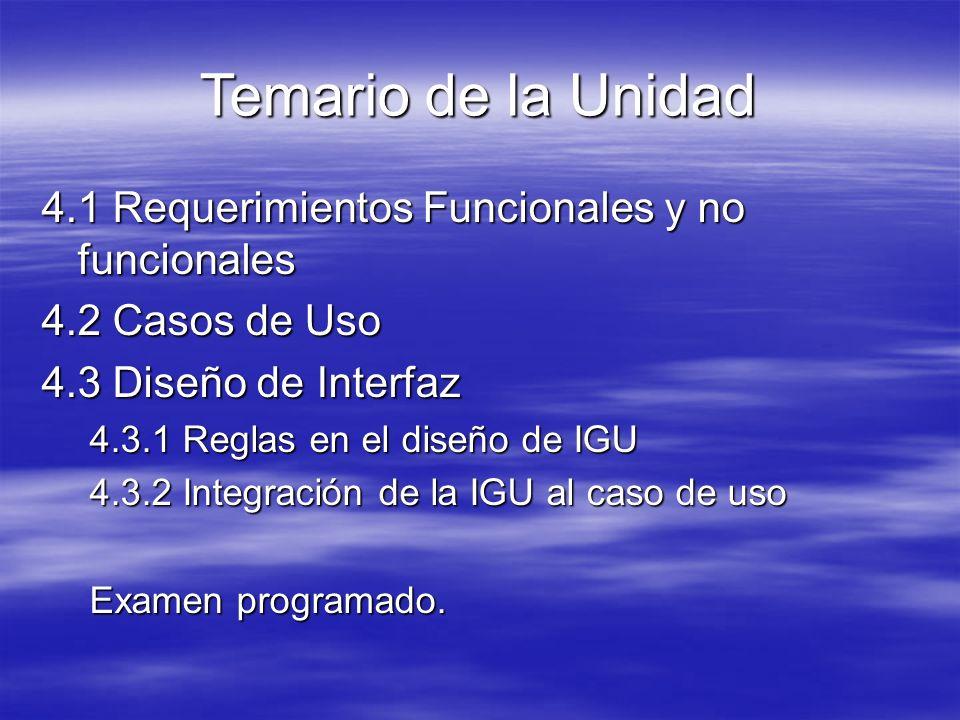 Temario de la Unidad 4.1 Requerimientos Funcionales y no funcionales
