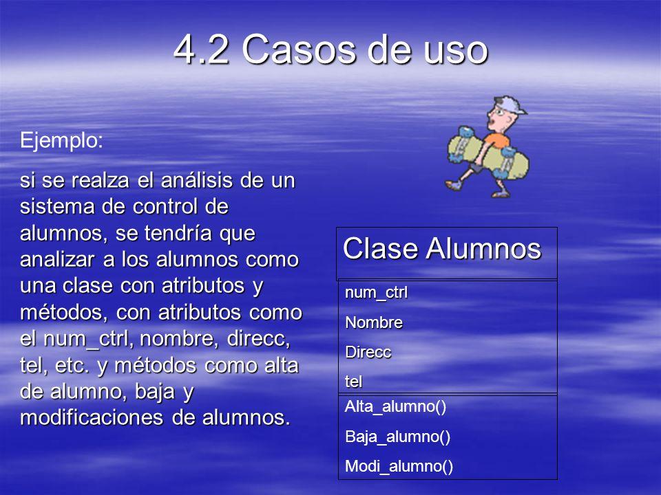 4.2 Casos de uso Clase Alumnos Ejemplo: