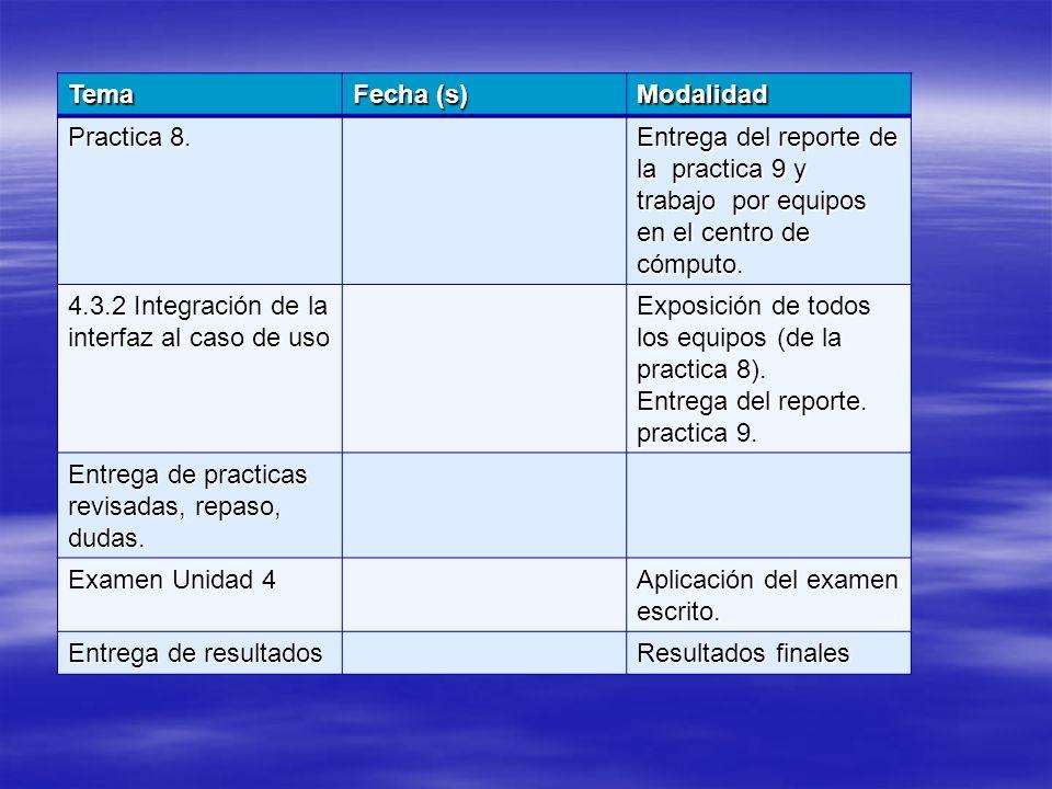 Tema Fecha (s) Modalidad. Practica 8. Entrega del reporte de la practica 9 y trabajo por equipos en el centro de cómputo.