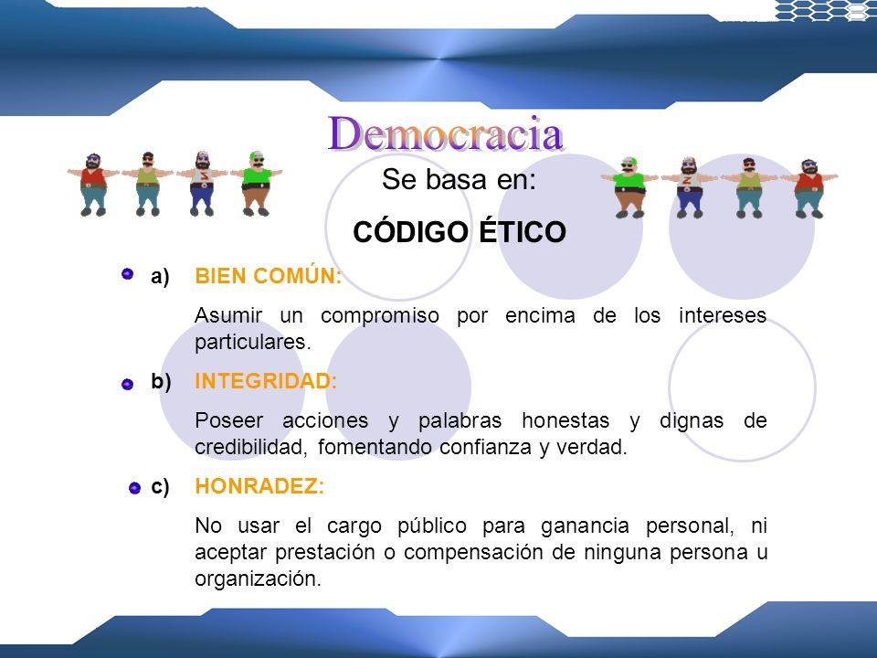 Se basa en: CÓDIGO ÉTICO Democracia BIEN COMÚN: