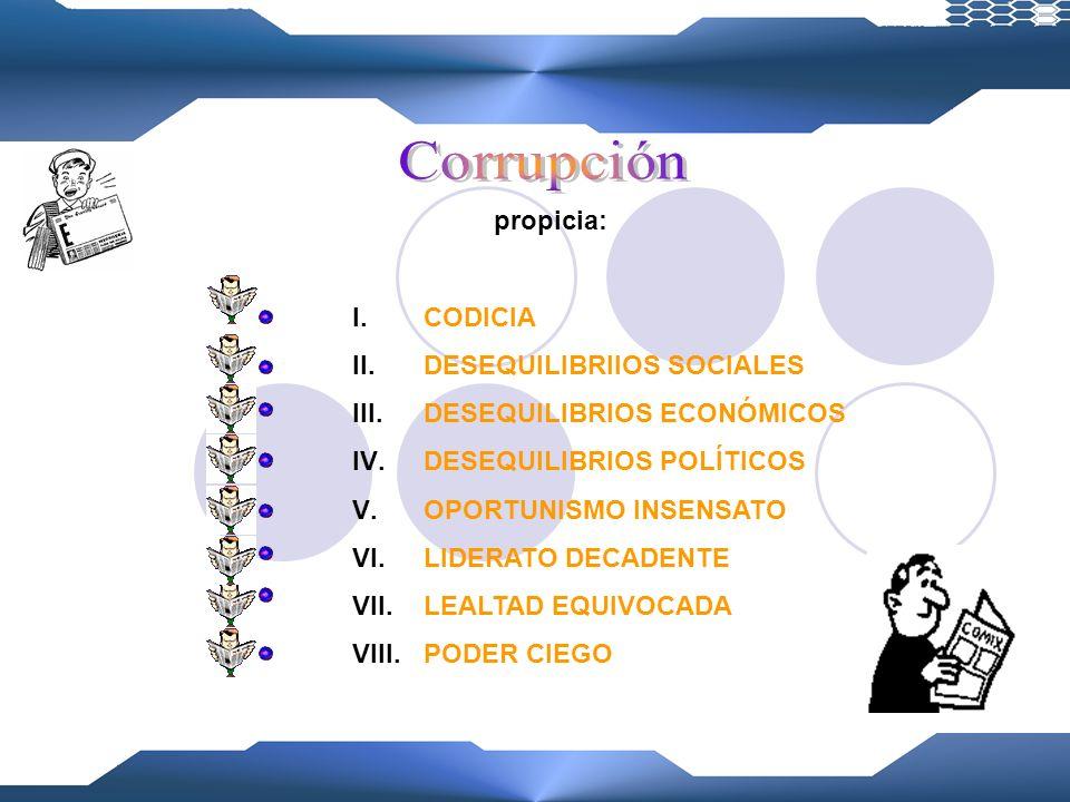 Corrupción propicia: CODICIA DESEQUILIBRIIOS SOCIALES