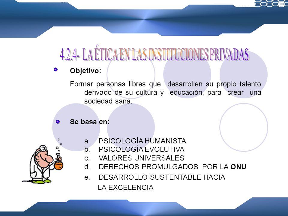 4.2.4- LA ÉTICA EN LAS INSTITUCIONES PRIVADAS