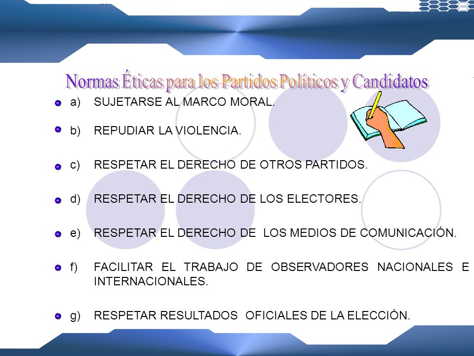 Normas Éticas para los Partidos Políticos y Candidatos