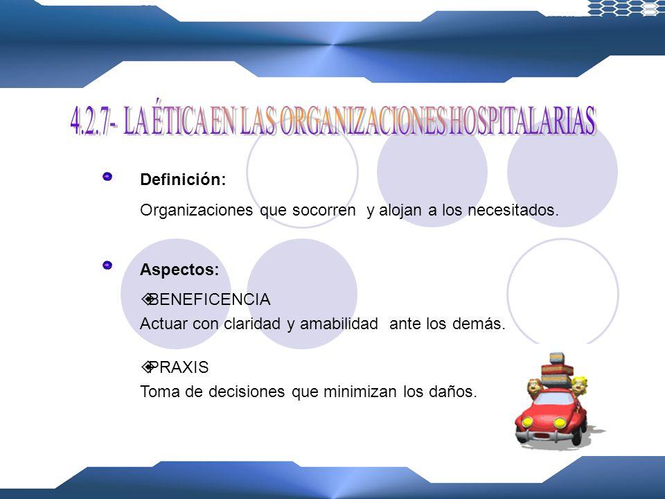 4.2.7- LA ÉTICA EN LAS ORGANIZACIONES HOSPITALARIAS