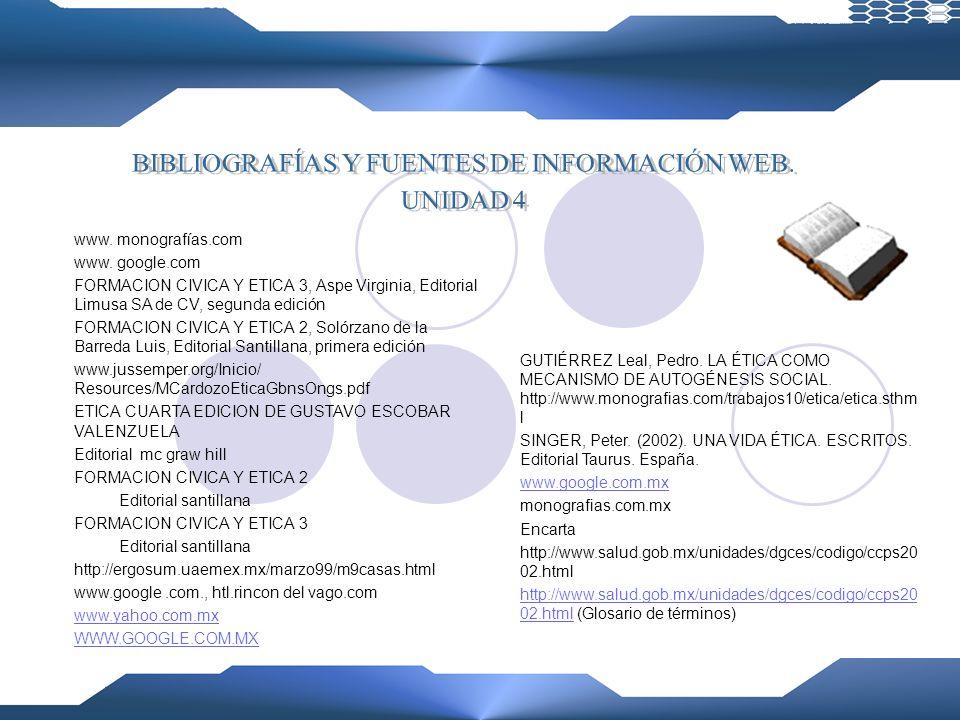 BIBLIOGRAFÍAS Y FUENTES DE INFORMACIÓN WEB.