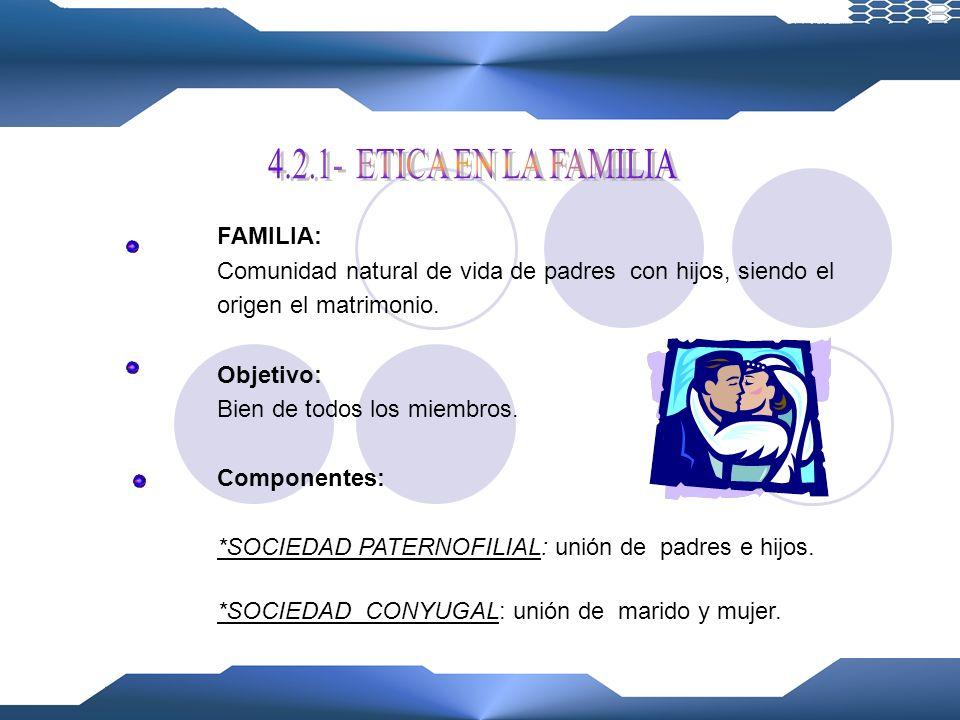 4.2.1- ETICA EN LA FAMILIA FAMILIA: