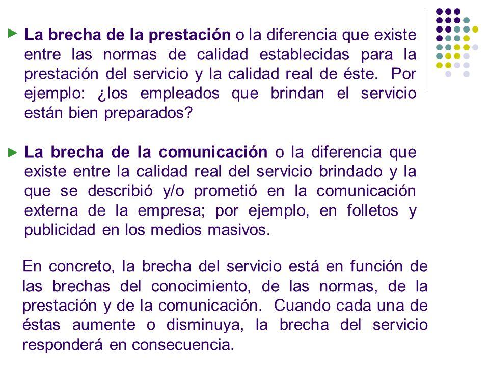 La brecha de la prestación o la diferencia que existe entre las normas de calidad establecidas para la prestación del servicio y la calidad real de éste. Por ejemplo: ¿los empleados que brindan el servicio están bien preparados
