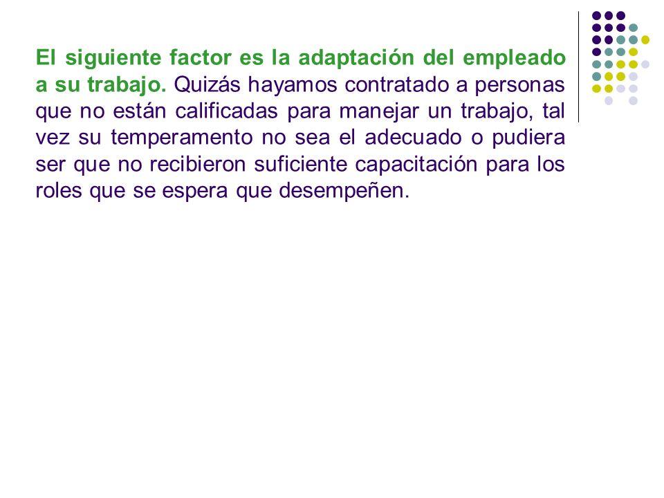 El siguiente factor es la adaptación del empleado a su trabajo