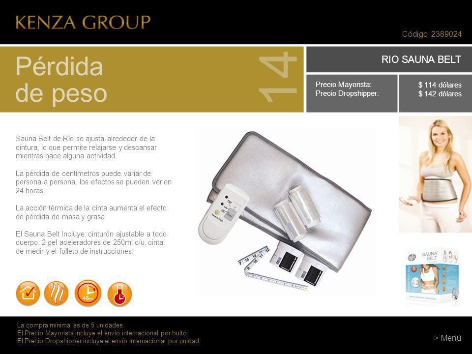 14 Pérdida de peso RIO SAUNA BELT Código 2389024 > Menú