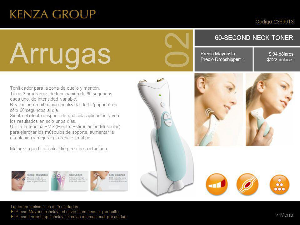 02 Arrugas 60-SECOND NECK TONER Código > Menú