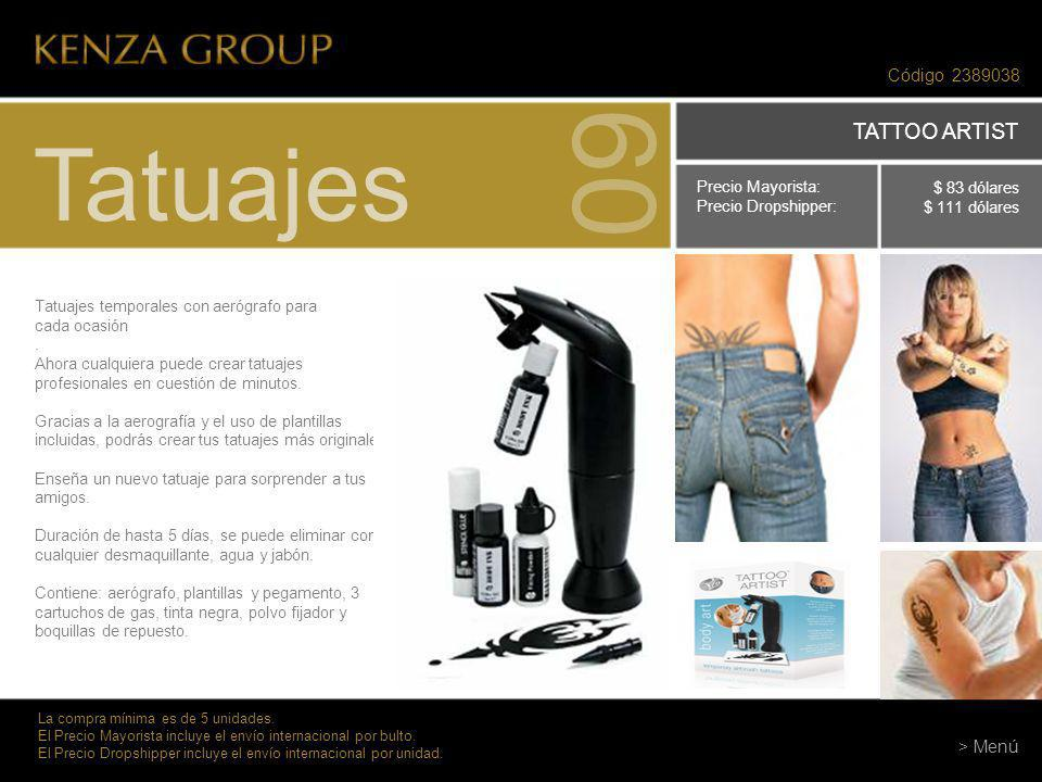 09 Tatuajes TATTOO ARTIST Código 2389038 > Menú Precio Mayorista: