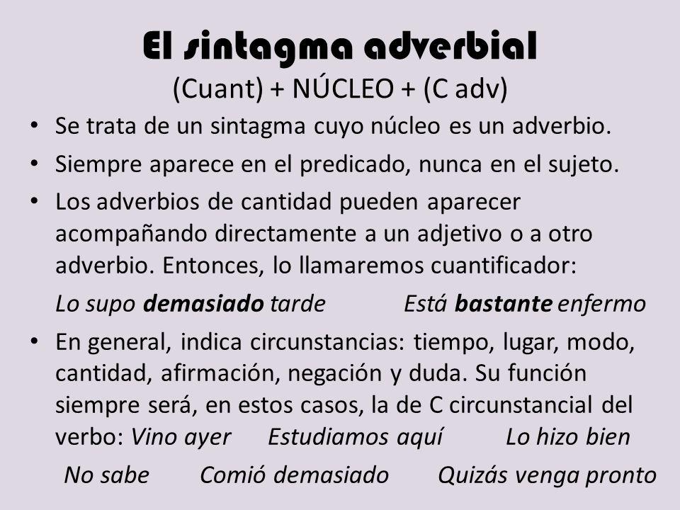 El sintagma adverbial (Cuant) + NÚCLEO + (C adv)
