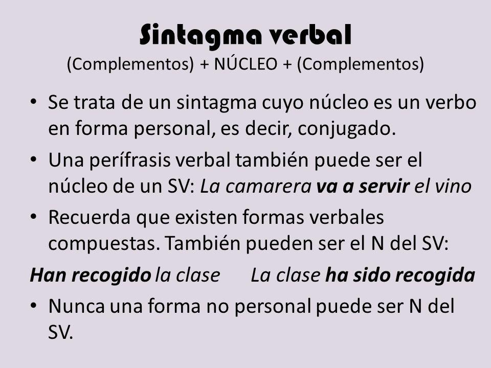 Sintagma verbal (Complementos) + NÚCLEO + (Complementos)