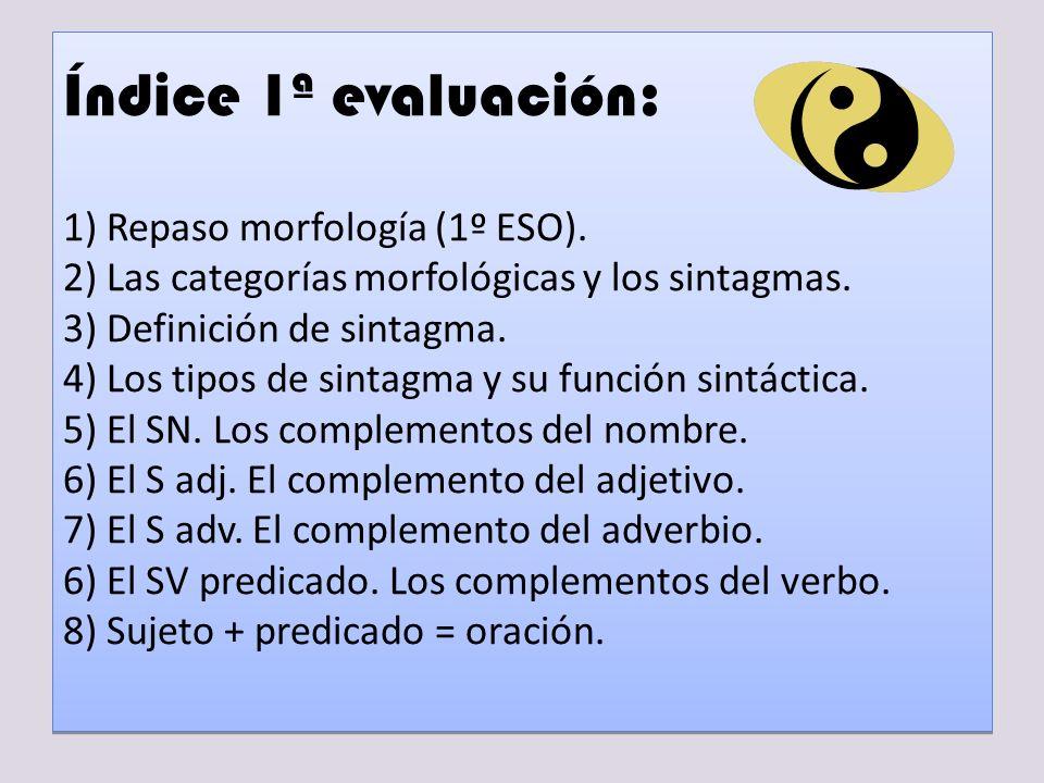 Índice 1ª evaluación: 1) Repaso morfología (1º ESO)