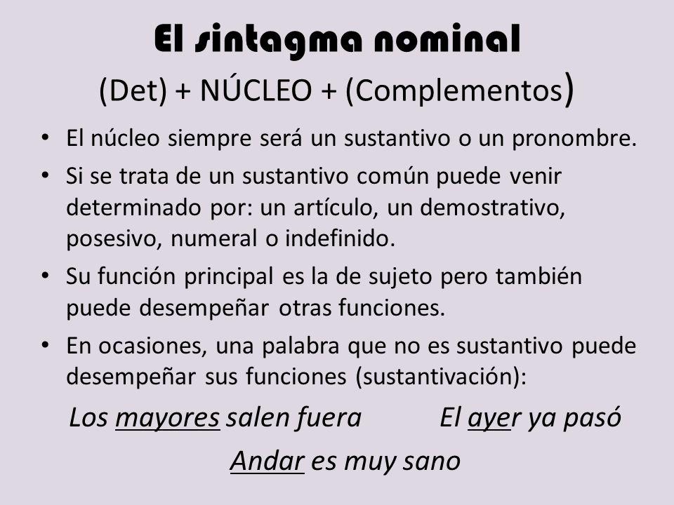El sintagma nominal (Det) + NÚCLEO + (Complementos)